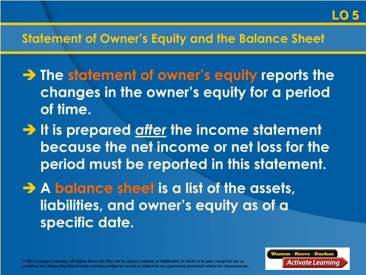Statement of Owner's Equity and the Balance Sheet