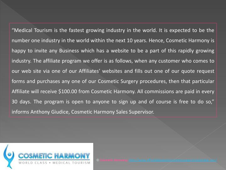 """Medical Tourism is the fastest growing industry in the world. It is expected to be the number one..."