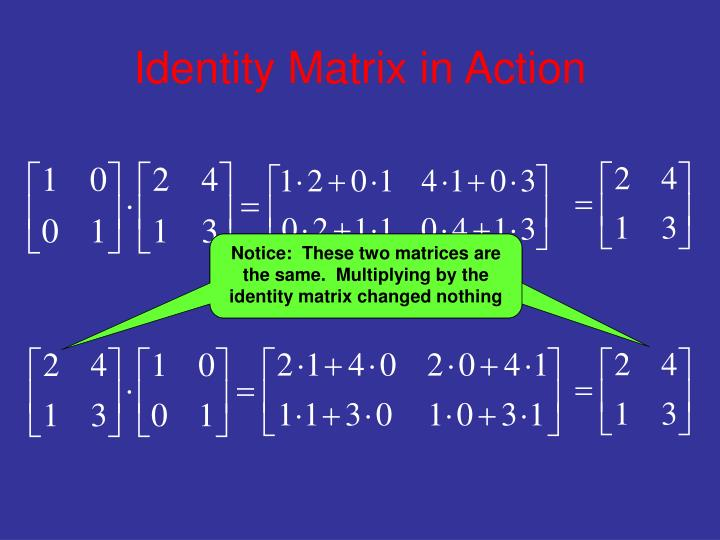Identity matrix in action