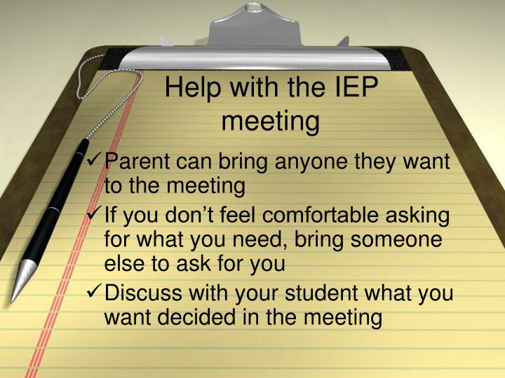 Help with the IEP meeting