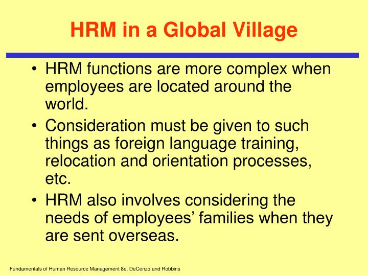 HRM in a Global Village