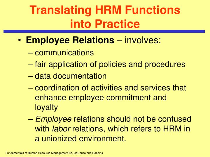 Translating HRM Functions into Practice