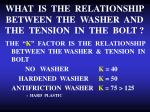 what is the relationship between the washer and the tension in the bolt