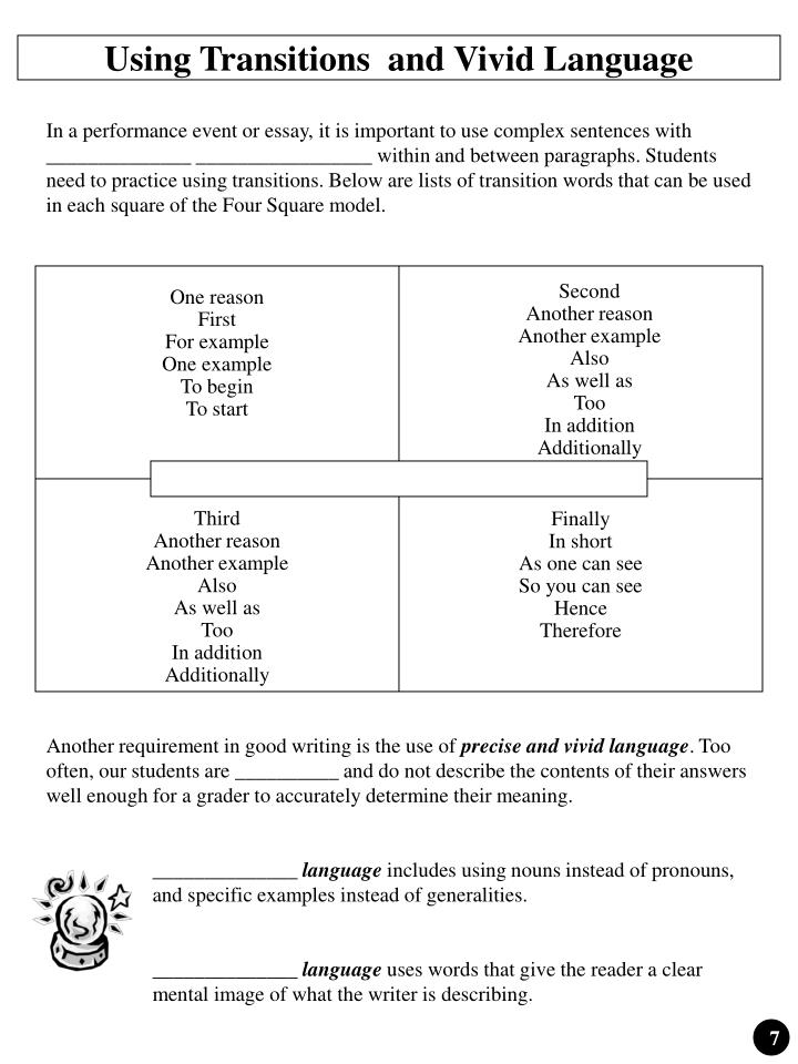 Using Transitions  and Vivid Language