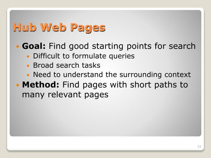 Hub Web Pages