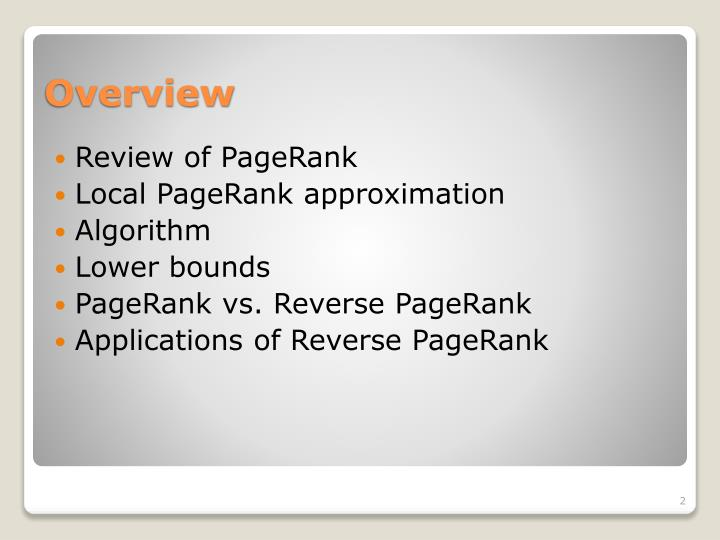 Review of PageRank