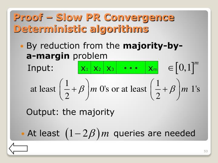 Proof – Slow PR Convergence Deterministic algorithms