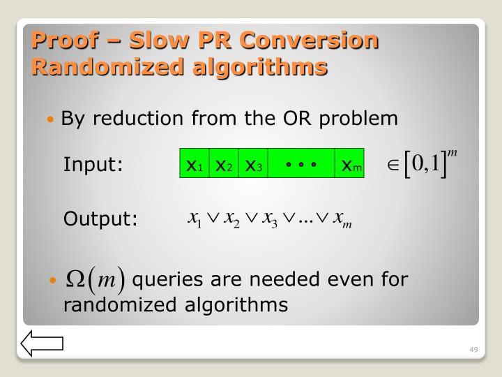 Proof – Slow PR Conversion Randomized algorithms
