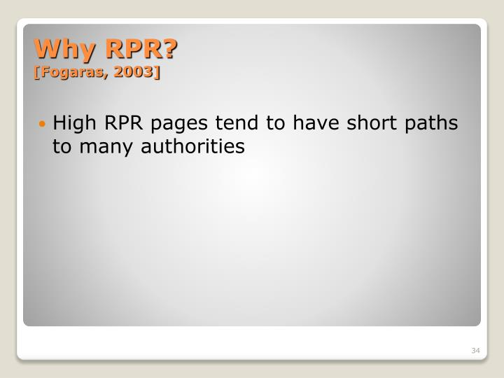 High RPR pages tend to have short paths to many authorities