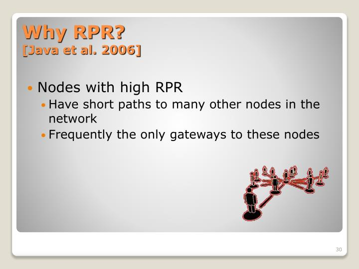 Nodes with high RPR