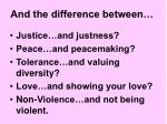 and the difference between