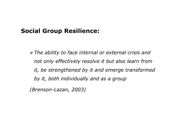 Social Group Resilience: