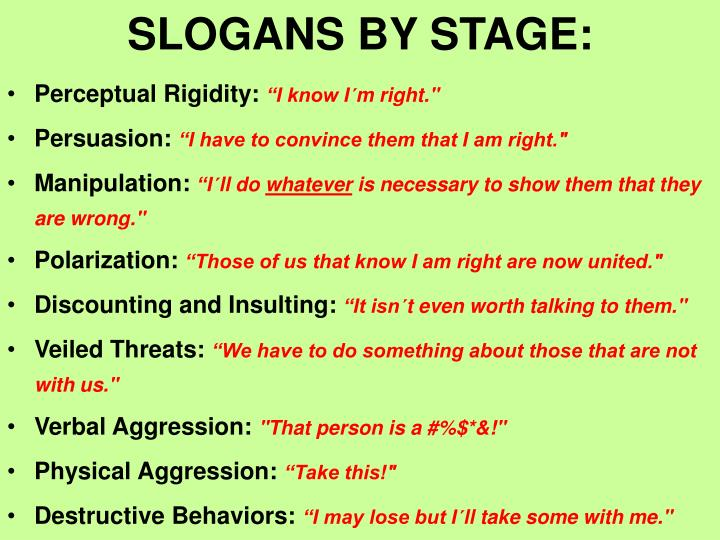SLOGANS BY STAGE: