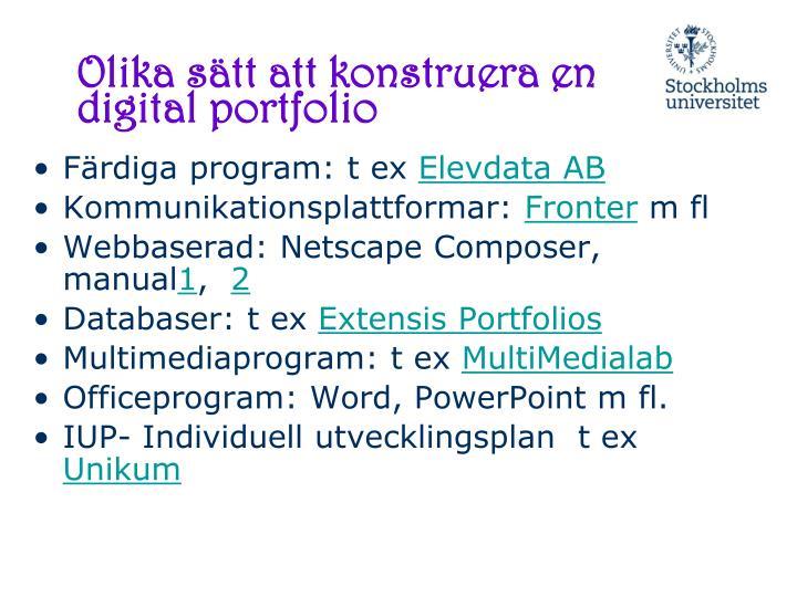 Olika sätt att konstruera en digital portfolio