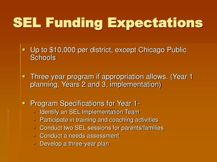 SEL Funding Expectations