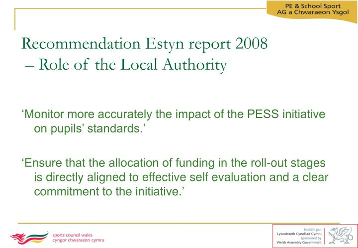 Recommendation Estyn report 2008