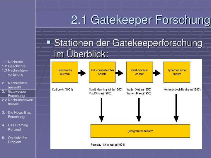 Stationen der Gatekeeperforschung