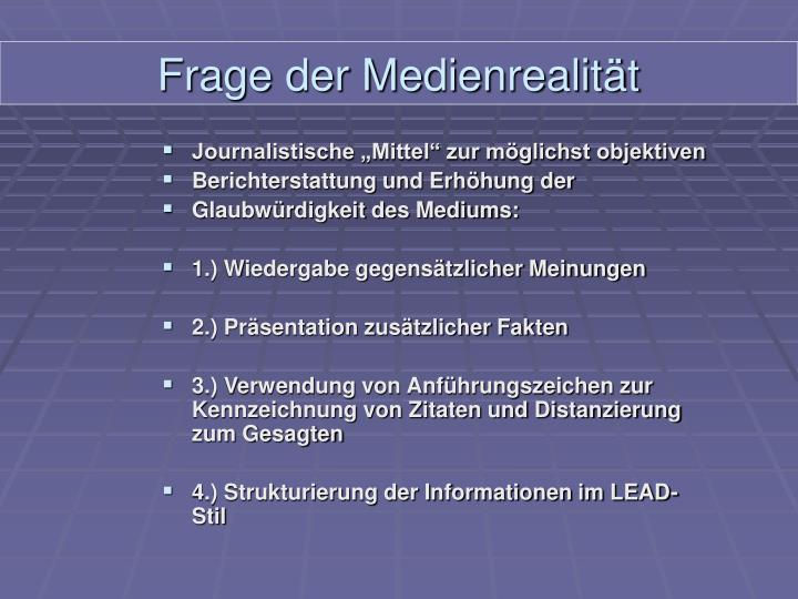 """Journalistische """"Mittel"""" zur möglichst objektiven"""
