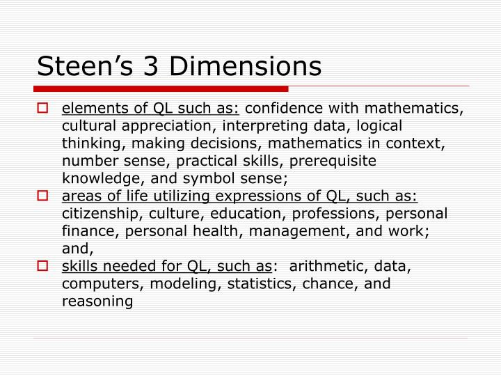 Steen's 3 Dimensions