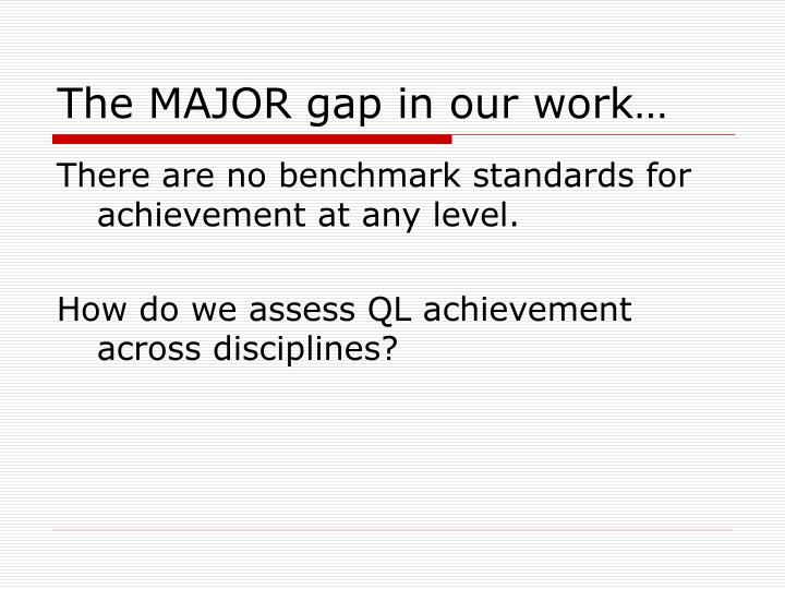 The MAJOR gap in our work…