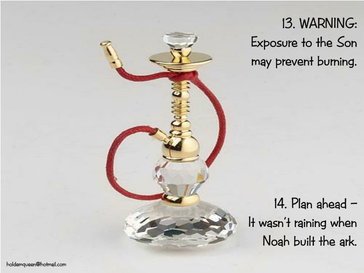 13. WARNING: