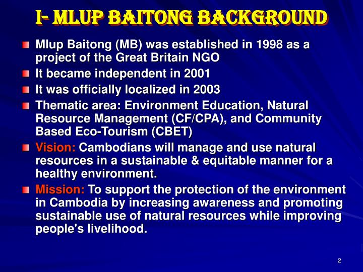 I- Mlup Baitong Background
