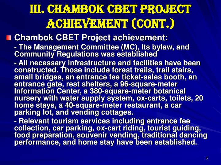 III. Chambok CBET Project Achievement (cont.)