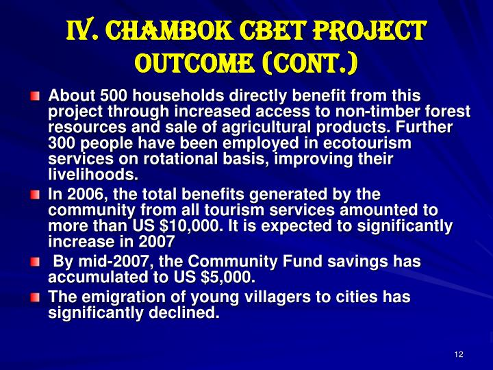 IV. Chambok CBET Project Outcome (cont.)