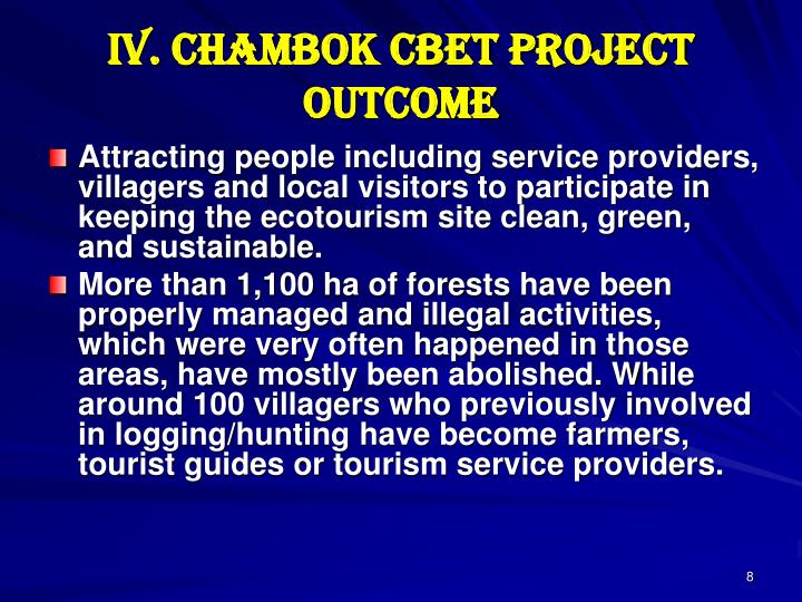 IV. Chambok CBET Project Outcome