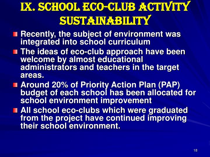 IX. School Eco-club Activity Sustainability