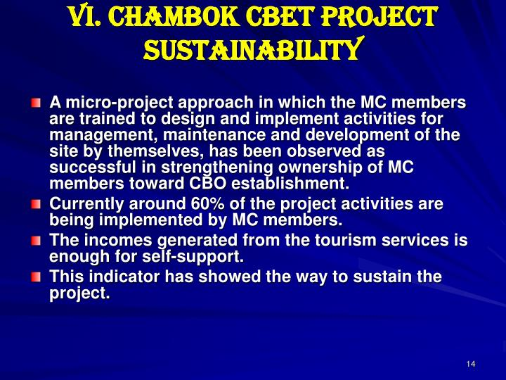 VI. Chambok CBET Project sustainability