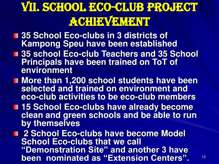 VII. School Eco-club Project Achievement