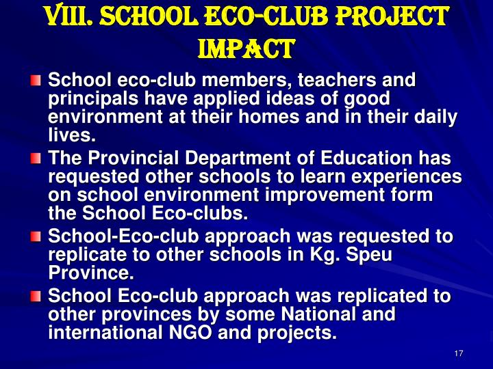 VIII. School Eco-club Project Impact