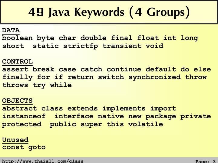 49 Java Keywords (4 Groups)