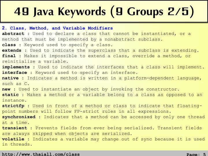 49 Java Keywords (9 Groups 2