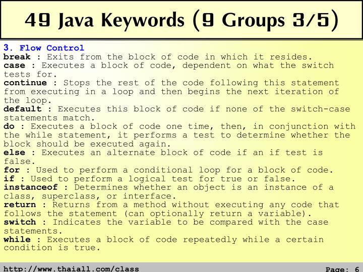 49 Java Keywords (9 Groups 3