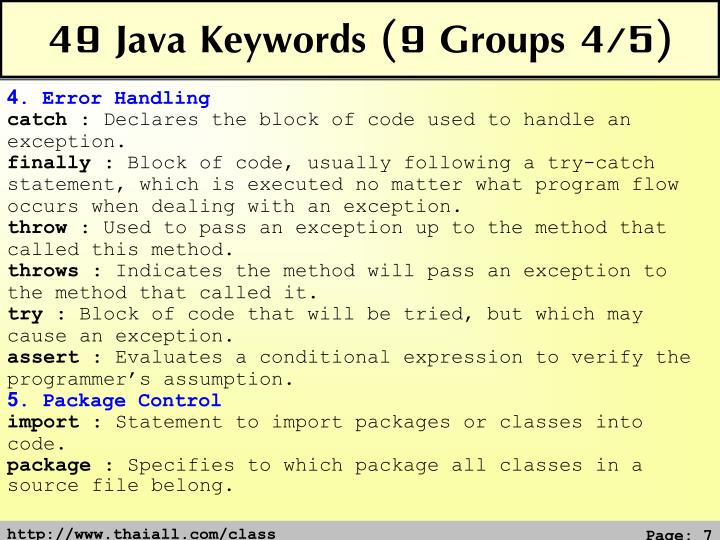 49 Java Keywords (9 Groups 4