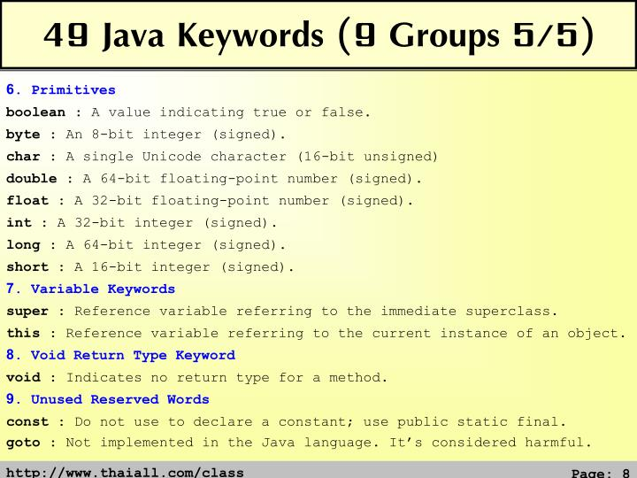 49 Java Keywords (9 Groups 5