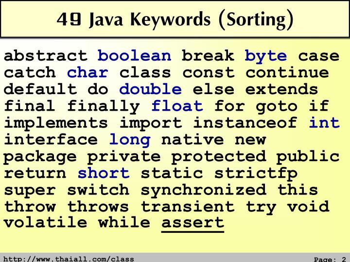 49 Java Keywords (Sorting)