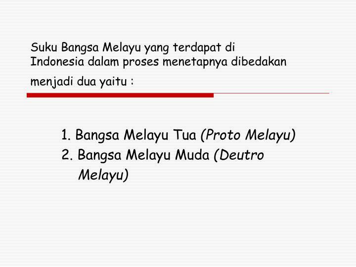 Suku Bangsa Melayu yang terdapat di