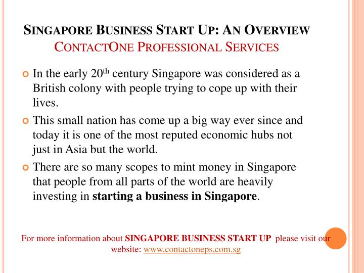 Singapore business start up an overview contactone professional services