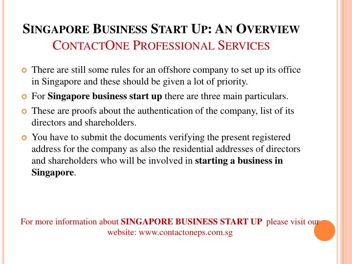 Singapore business start up an overview contactone professional services2