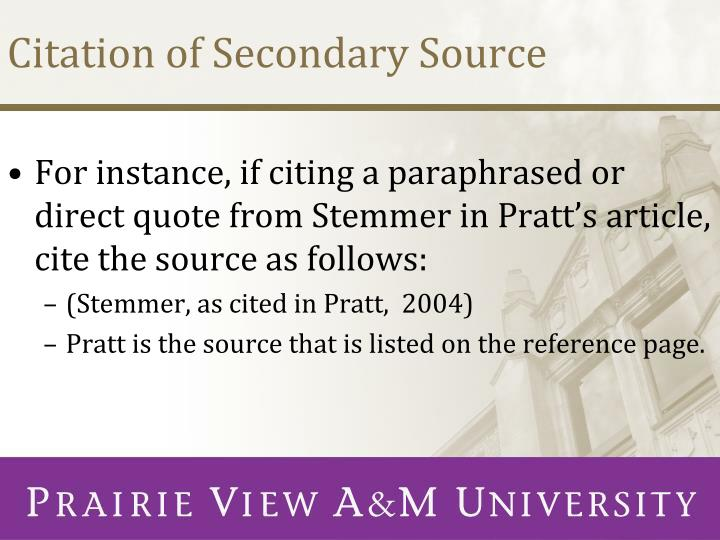 Citation of Secondary Source
