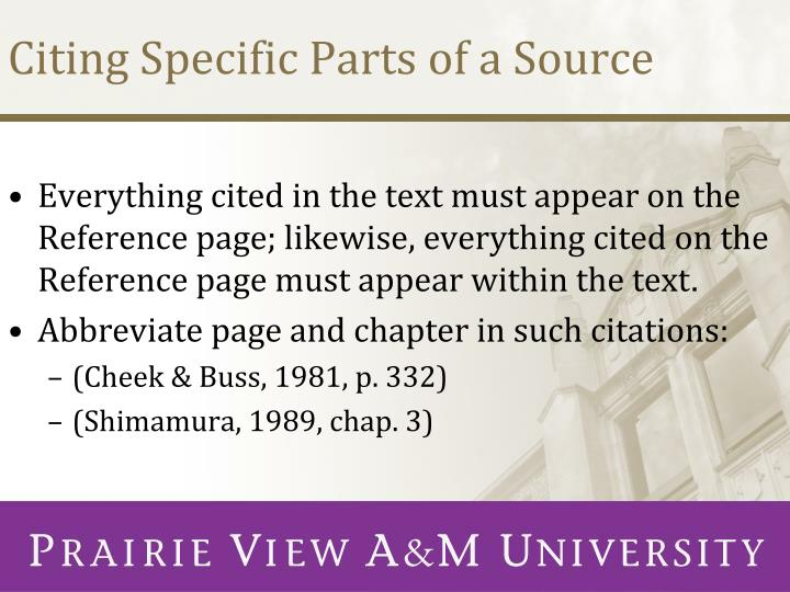 Citing Specific Parts of a Source