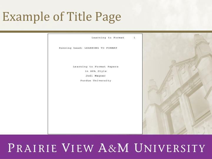 Example of Title Page
