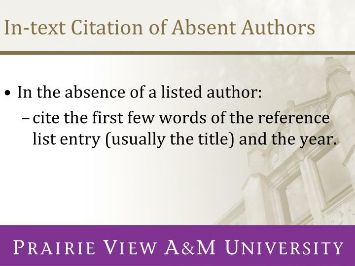 In-text Citation of Absent Authors