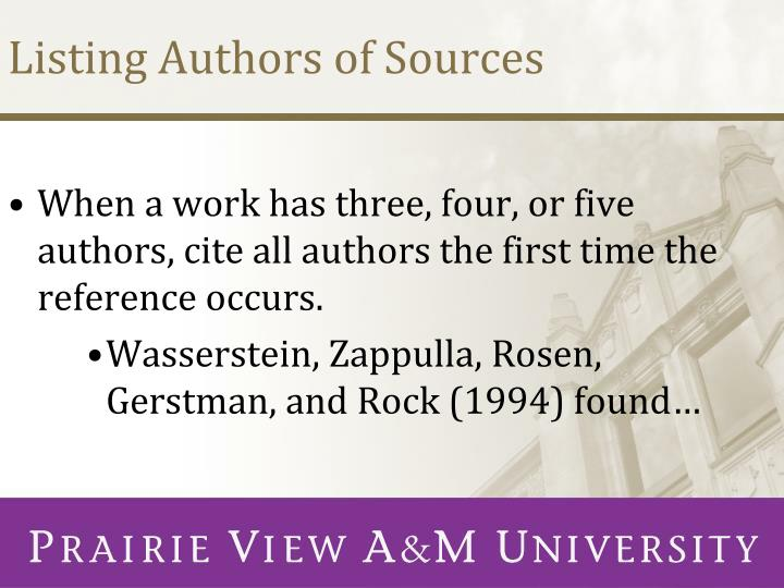 Listing Authors of Sources