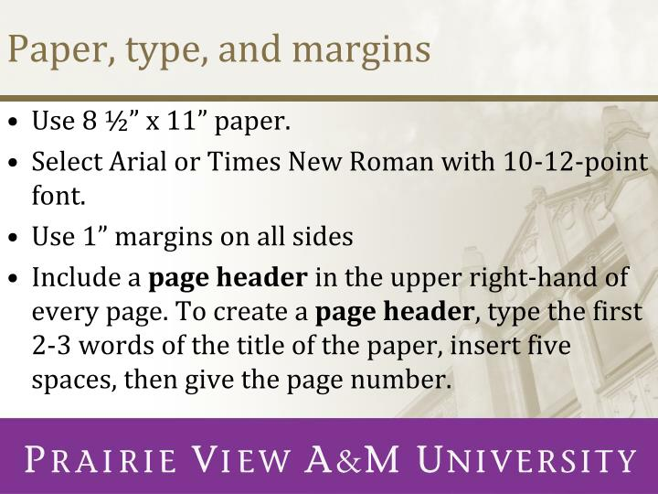 Paper, type, and margins