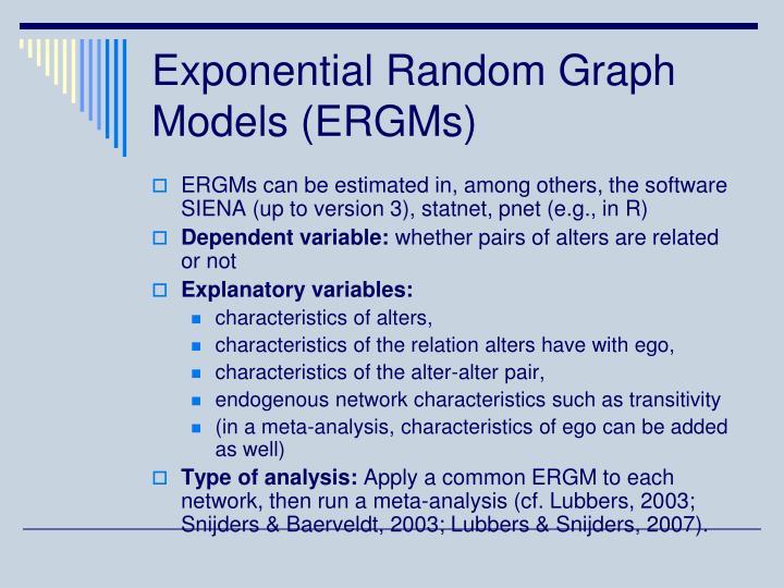 Exponential Random Graph Models (ERGMs)