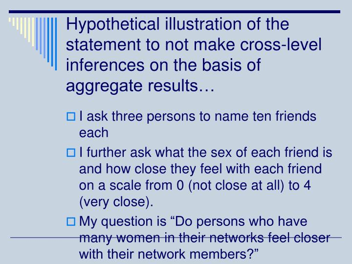 Hypothetical illustration of the statement to not make cross-level inferences on the basis of aggregate results…